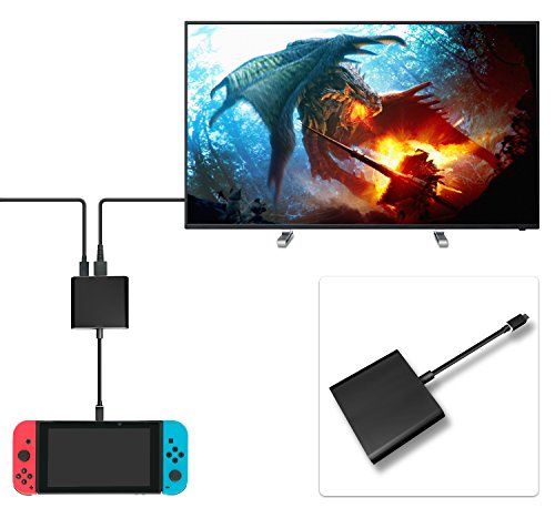 FastSnail HDMI Type C Hub Adapter for Nintendo Switch, HDMI Converter Cable for Nintendo Switch (Black)