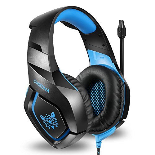 56c168e9e3e ... ONIKUMA Stereo Gaming Headset for PS4 Xbox One, Noise Cancelling Mic  Over Ears Gaming Headphones ...