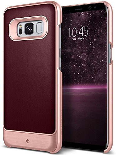 Galaxy S8 Case, Caseology [Fairmont Series] Slim Premium PU Leather Impact Protection Ultra Low-Profile [Cherry Oak] for Samsung Galaxy S8 (2017)