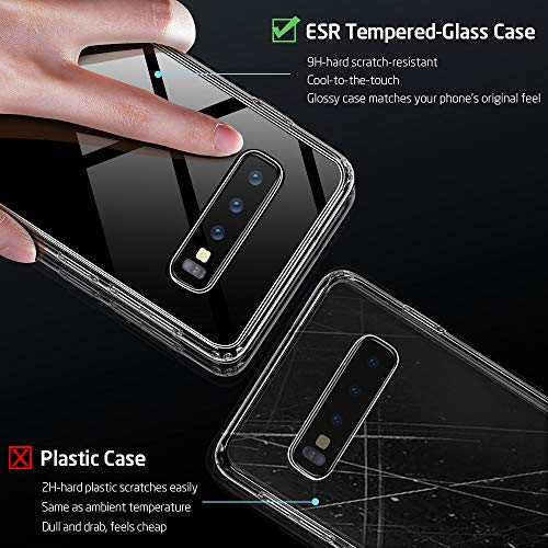 reputable site 51cb8 aa654 ESR Mimic Series Glass Case Compatible with Samsung Galaxy S10, 9H Tempered  Glass Hybrid Back Cover [Mimics The Glass Back of The S10] ...