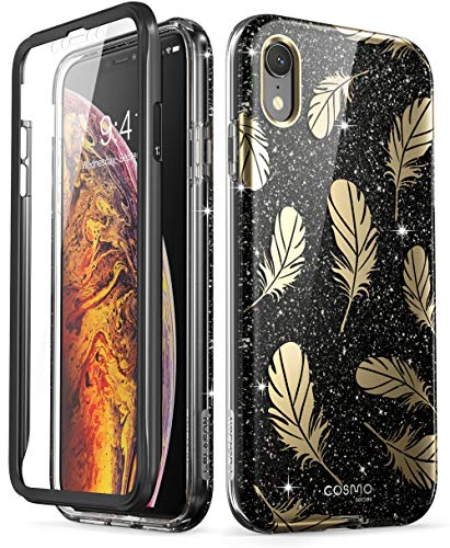 iPhone XR Case, [Built-in Screen Protector] i-Blason [Cosmo] Full-Body Glitter Bumper Case for iPhone XR 6.1 Inch 2018 Release (Black)