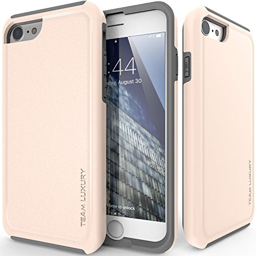 iPhone 8 Case, TEAM LUXURY Ultra Defender TPU + PC [Shock Absorbent] Premium Protective Case - for Apple iPhone 7 & iPhone 8 (Silver Peony/ Gray)