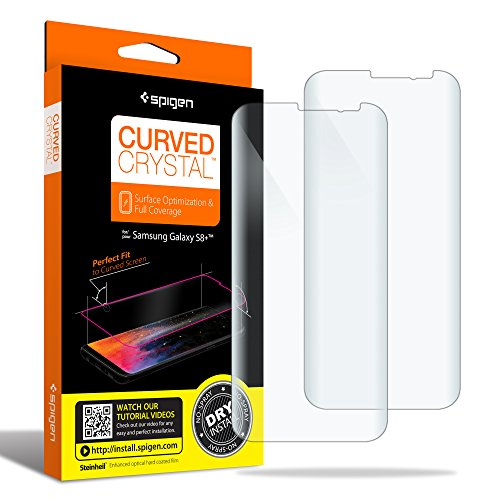 Spigen Galaxy S8 Plus Screen Protector Curved Crystal / 2 Pack / Curved Film / Case Friendly / Dry Application for Samsung Galaxy S8 Plus