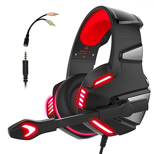 PS4 Headset, PS4 Headphones, PC Gaming Headset with LED light, Stereo  Gaming Headphones with Mic, Noise Reduction Bass Headsets with Volume  Control