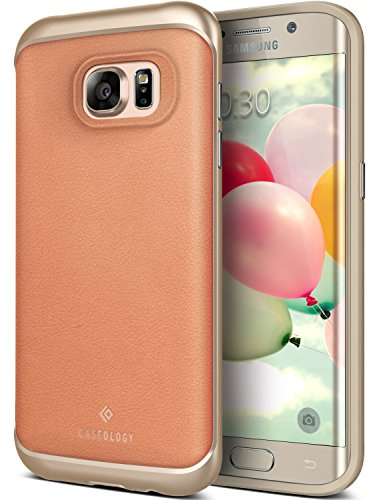 Galaxy S7 Edge Case, Caseology [Envoy Series] Slim Premium PU Leather Dual Layer Protective Corner Cushion Design [Leather Pink] for Samsung Galaxy S7 Edge (2016)