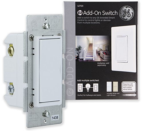GE Add-On Switch only for GE Z-Wave, GE ZigBee and GE Bluetooth Wireless Smart Lighting Controls, NOT A STANDALONE SWITCH, Incl. White & Light Almond Paddles, 12723, Works with Alexa