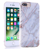 iPhone 7 Plus Case, Shiny Rose Gold White Grey Marble Design, BAISRKE Clear Bumper Matte TPU Soft Rubber Silicone Cover Phone Case for Apple iPhone 7 Plus 5.5 inch