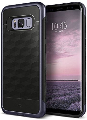 Galaxy S8 Case, Caseology [Parallax Series] Slim Dual Layer Protective Textured Geometric Cover Corner Cushion Design [Black / Orchid Gray] for Samsung Galaxy S8 (2017)