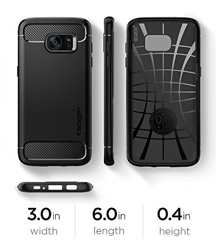 newest 3a0bd e99d1 Spigen Rugged Armor Galaxy S7 Edge Case with Resilient Shock Absorption and  Carbon Fiber Design for Samsung Galaxy S7 Edge 2016 - Black