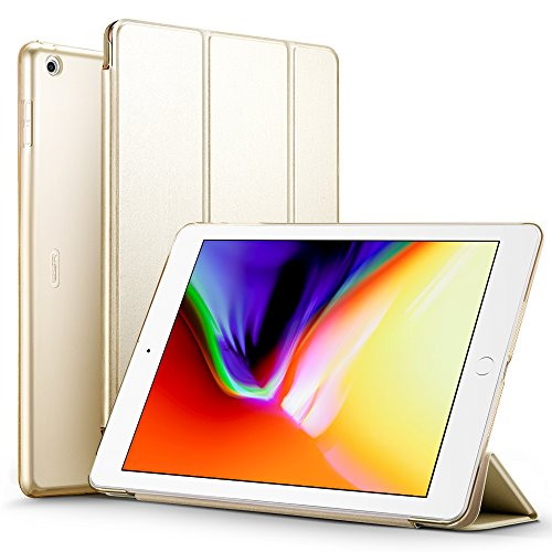 iPad 2017 iPad 9.7 inch Case, ESR Lightweight Smart Case Trifold Stand with Auto Sleep/Wake Function, Microfiber Lining, Hard Back Cover for Apple iPad 9.7-inch,Champagne Gold