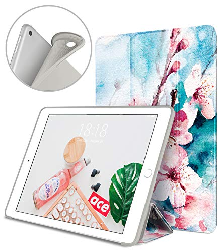 DTTO iPad 9.7 Case 2018 iPad 6th Generation Case/2017 iPad 5th Generation Case, Slim Fit Lightweight Smart Cover with Soft TPU Back Case for iPad 9.7 2018/2017 [Auto Sleep/Wake] - Peach Blossom