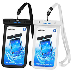 Mpow Universal Waterproof Case, IPX8 Waterproof Phone Pouch Dry Bag for iPhone7/7plus/6s/6/6s plus Samsung galaxy s8/s7 LG V20 Google Pixel HTC10 (Black,White 2-Pack)