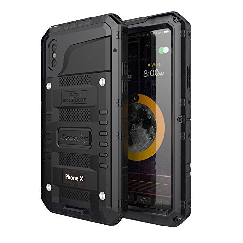 the latest c17d5 d6f21 iPhone X Waterproof Case,Beasyjoy Heavy Duty Hard Metal Cover with Built-in  Screen Full Body Protection Shockproof Dustproof Drop Proof Rugged Durable  ...