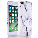 iPhone 7 Plus Case, White Marble Creative Design, BAISRKE Slim Flexible Soft Silicone Bumper Shockproof Gel TPU Rubber Glossy Skin Cover Case for Apple iPhone 7 Plus 5.5 inch (2016) - Black