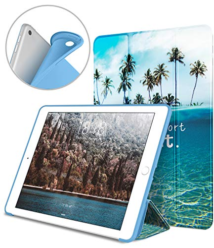 DTTO iPad 9.7 Case 2018 iPad 6th Generation Case/2017 iPad 5th Generation Case, Slim Fit Lightweight Smart Cover with Soft TPU Back Case for iPad 9.7 2018/2017 [Auto Sleep/Wake] - Blue Beach