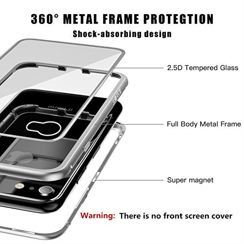 timeless design d7202 f4bce iPhone 8 Case,iPhone 7 Case, ZHIKE Magnetic Adsorption Case Ultra Slim  Metal Frame Tempered Glass Back with Built-in Magnet Flip Cover for Apple  ...