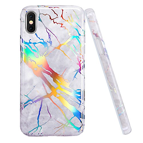 iPhone X Case,DOUJIAZ Shiny Change Colour Grey Marble Design Clear Bumper Glossy TPU Soft Rubber Silicone Cover Phone Case for for iPhone X