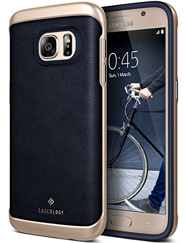 Galaxy S7 Case, Caseology [Envoy Series] Slim Premium PU Leather Dual Layer Protective Corner Cushion Design [Leather Navy Blue] for Samsung Galaxy S7 (2016)