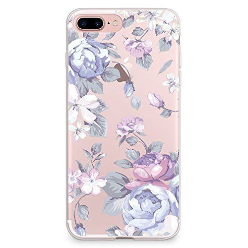 iPhone 8 Plus Case, iPhone 7 Plus Case, CasesByLorraine Purple Floral Flower Clear Transparent Case Flexible TPU Soft Gel Protective Cover for Apple iPhone 7 Plus & iPhone 8 Plus (I33)