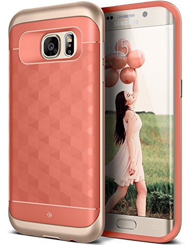 Galaxy S7 Edge Case, Caseology [Parallax Series] Slim Premium PU Leather Dual Layer Protective Corner Cushion Design [Coral Pink] for Samsung Galaxy S7 Edge (2016)