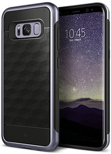 Galaxy S8 Plus Case, Caseology [Parallax Series] Slim Dual Layer Protective Textured Geometric Cover Corner Cushion Design [Black / Orchid Gray] for Samsung Galaxy S8 Plus (2017)