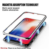 iPhone X Case, ZHIKE Magnetic Adsorption Case Ultra Slim Metal Frame Tempered Glass with Built-in Magnet Flip Cover [Support Wireless Charging] for Apple iPhone 10/X (Clear white)