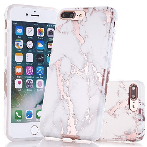iPhone 7 Plus Case, Shiny Rose Gold White Marble Design, BAISRKE Clear  Bumper Matte TPU Soft Rubber Silicone Cover Phone Case for Apple iPhone 7  Plus