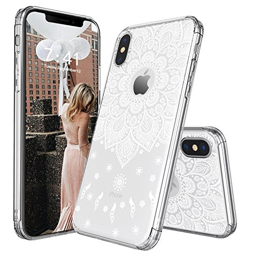 iPhone X Case, iPhone X Slim Case, MOSNOVO White Peace Mandala Floral Lace Clear Design Printed Transparent Plastic with Soft TPU Bumper Protective Back Phone Case Cover for Apple iPhone X