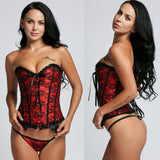 Sexy Women Lingerie Basques Red Floral Lace Up Overbust Corsets