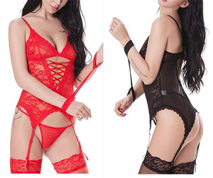 Sexy Lingerie for Women Upgraded Stretchy Lace Bodysuit Dress+G string+Glove+Garter Sleepwear