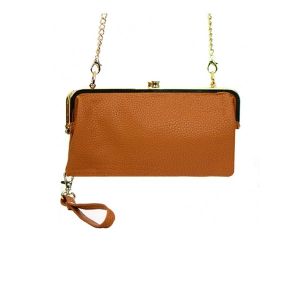 Women's Clutch Leather With Gold Metal Hardware