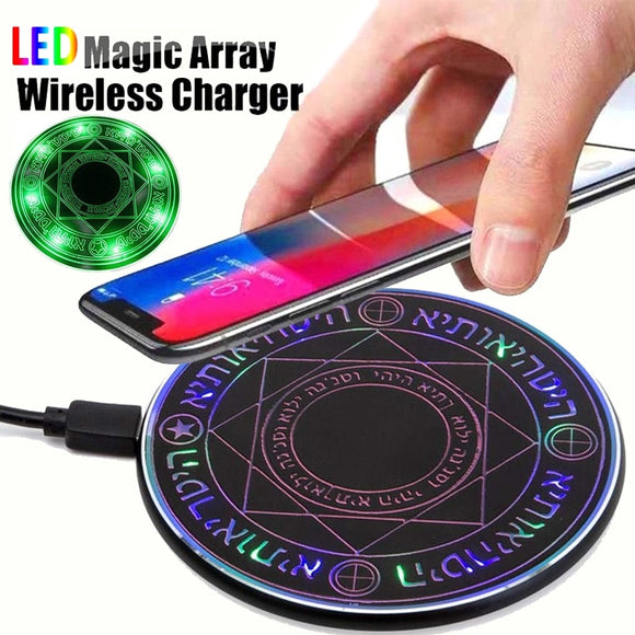 10W Wireless Charger Led Magic Array Fast Charger for Samsung S6 S7 Edge S8 S9 Plus Note 5 8 for iPhone X 8 8 Plus XS XS MAX XR