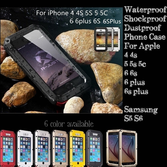 Waterproof Shockproof Aluminum Metal Cover Case For iPhone 5S 5 5C 6 6plus 6S 6Splus 4 4S And Samsung S5 S6