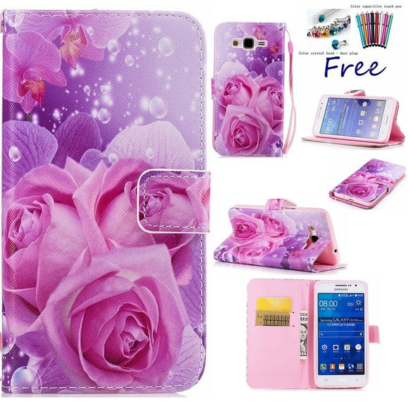 Fashion Luxury PU Leather Card Slot Bracket Wallet Cover Roses pattern Case for iphone 8 Plus 7 plus 6 6s plus 5s SE X /Samsung