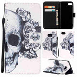 Black Skull Painted Pattern Flip Cover Holster PU Leather Wallet Card Holder With Hand Strap Shockproof Mobile Phone Bag Case Fo