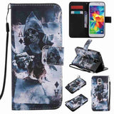 Cool Skull Magician Painted Pattern Flip PU Leather Cover Holster Card Holder Shockproof Protection Stand Wallet with Strap Mobi