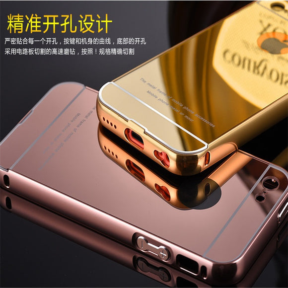 Fashion Luxury Slim 2 in 1 Arylic Mirror Hybrid Armor Full Body Protective Phone Case Plating Bumper Shockproof Cover Coque for