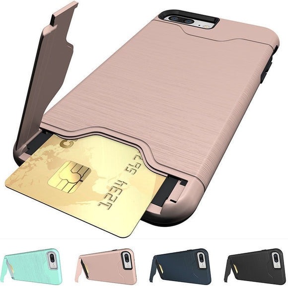 For iPhone X 8 Plus Shockproof Brushed Card Pocket Kickstand Hybrid Protective Case Cover for iPhone 6 6S 7 7S Plus Samsung Gala