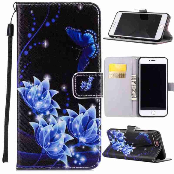 Charming Blue Butterfly Flower Painted Pattern PU Leather Wallet Style Flip Stand Cover Holster With Card Holder Protection Mobi