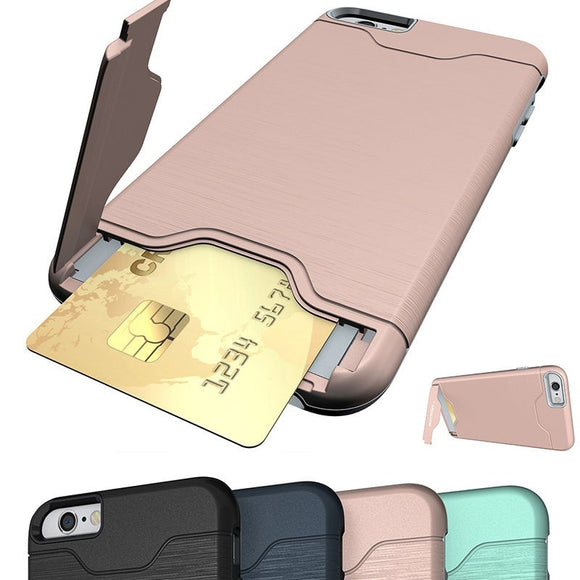 Shockproof Dual Layer Card Slot Holder Hybrid Case Cover With Kickstand For Iphone 6/6s/7 Plus
