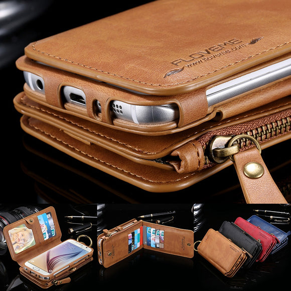 Luxury Multi-function Floveme Vintage Business Zipper Magnetic Wallet Genuine Leather Purse Flip Pouch Stand Photo Frame 18 Card