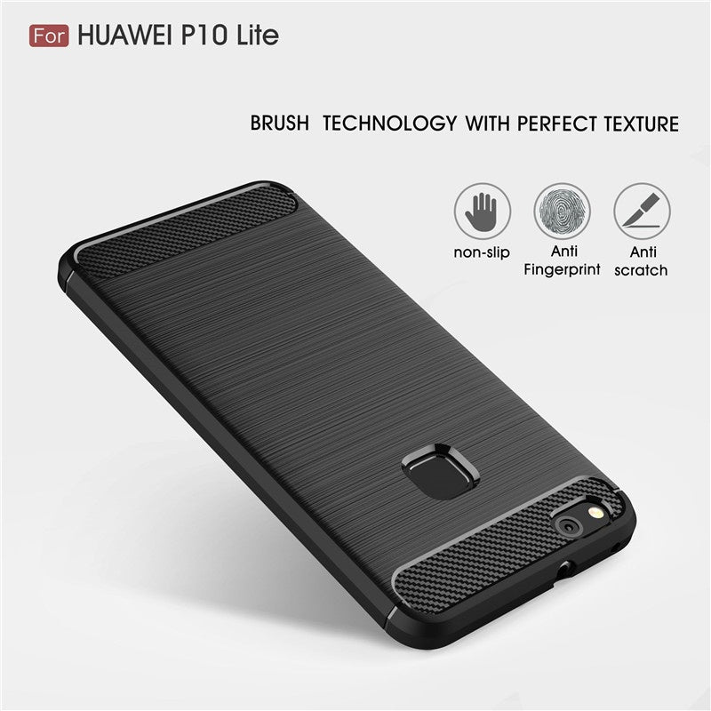 lowest price 9b9f1 b72c2 For Huawei P10 Lite Case 5.2 inch Cases Luxury Carbon Fiber Protective Back  Cover Case For Huawei P10 Lite Mobile Phone