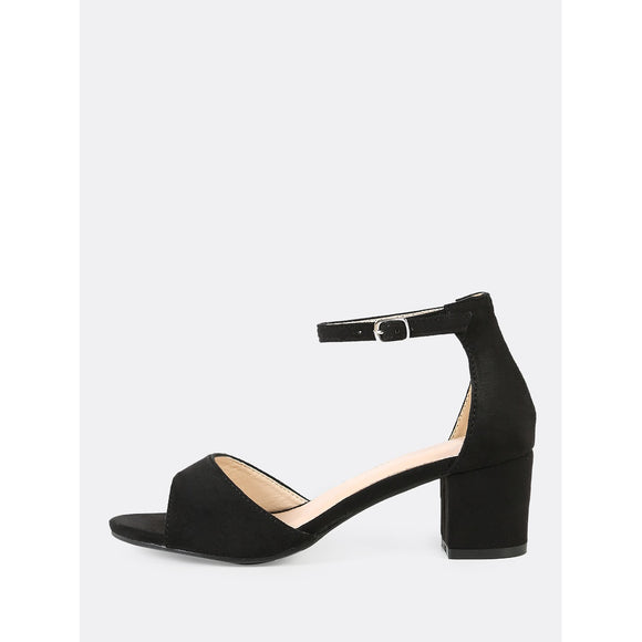 Faux Suede Peep Toe Ankle Strap Low Chunky Heel BLACK