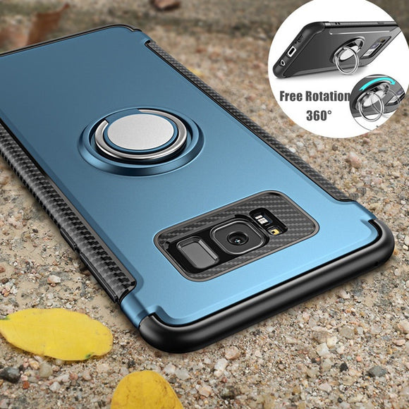 Case for iPhone X 8 7 6 6s Plus 5 5s Se for Samsung Galaxy Note 8 S8 Plus S7 Edge Car Holder Stand Magnetic Suction Ring Bracket