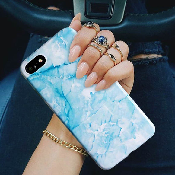 Phone Case: Glossy Cell Phone Case, Elegant Marble Print, Soft Slim Silicone Smartphone Case