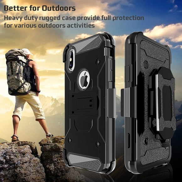 Shockproof Hard Cover Protective Heavy Duty Case with Built-in Kickstand + Holster Belt Clip + Defender Case for Apple iPhone X