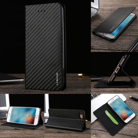 Vintage Magnetic Carbon Fiber Black Leather Flip Wallet Phone Case Cover for Samsung Samsung Galaxy S5 S6 S7 S8 edge Plus A3 A5