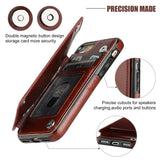 For iPhone 8/8 Plus Business Men Women Premium Leather Wallet Case with Card Holder Double Magnetic Clasp and Durable Shockproof
