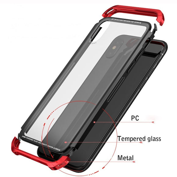 For Apple iPhone X 10 8 8plus 7 7plus Cases 360 Full Protection Clear Tempered Glass Metal Frame Bumper Case Cover for Samsung G