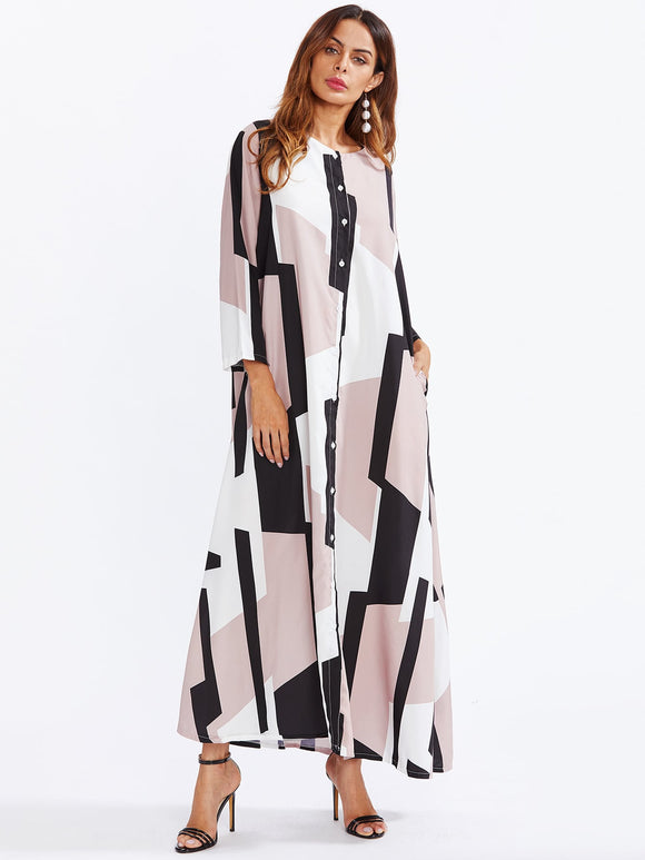 Geo Pattern Button Through Maxi Dress